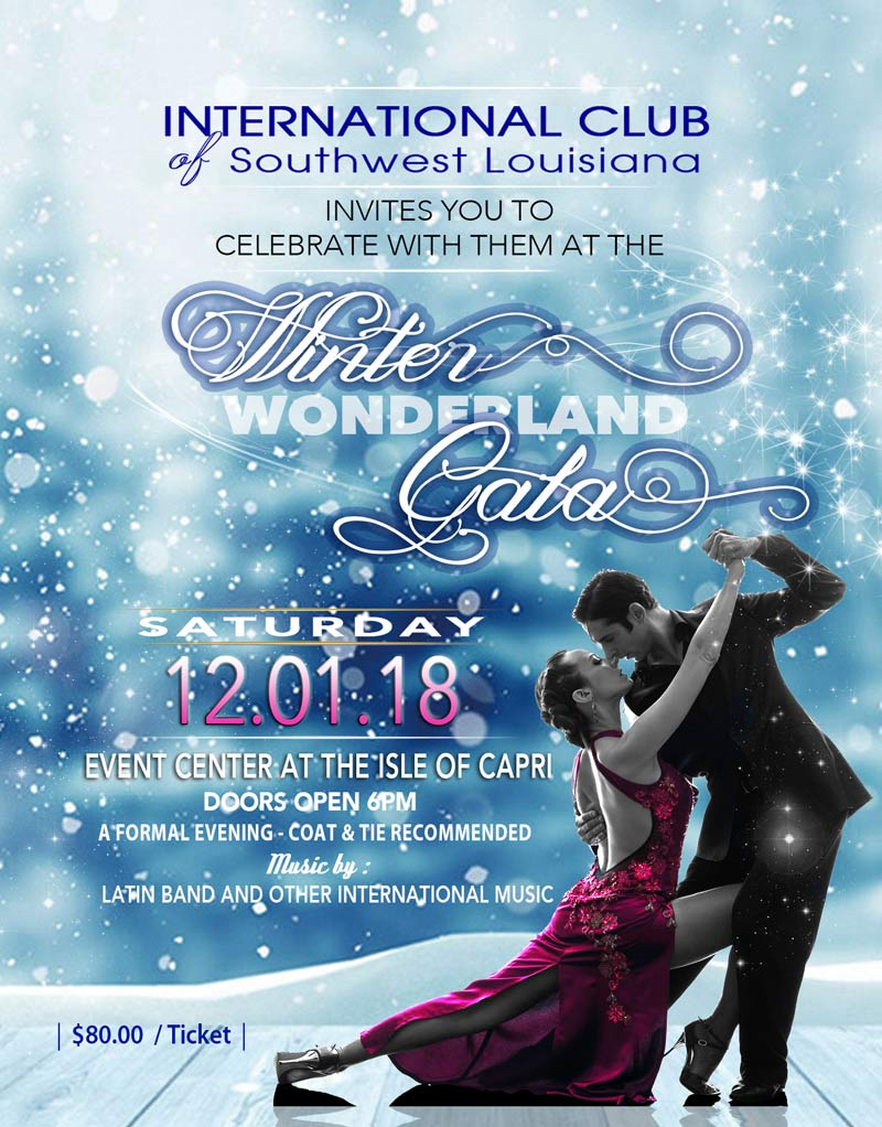 Flyer for Winter Wonderland Gala 2018. Dancing couple with blue snowy background.